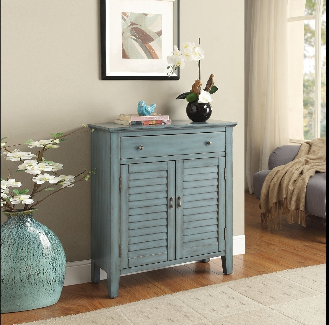 Acme 97247 Winchell Antique Blue Drawer Door Console Table