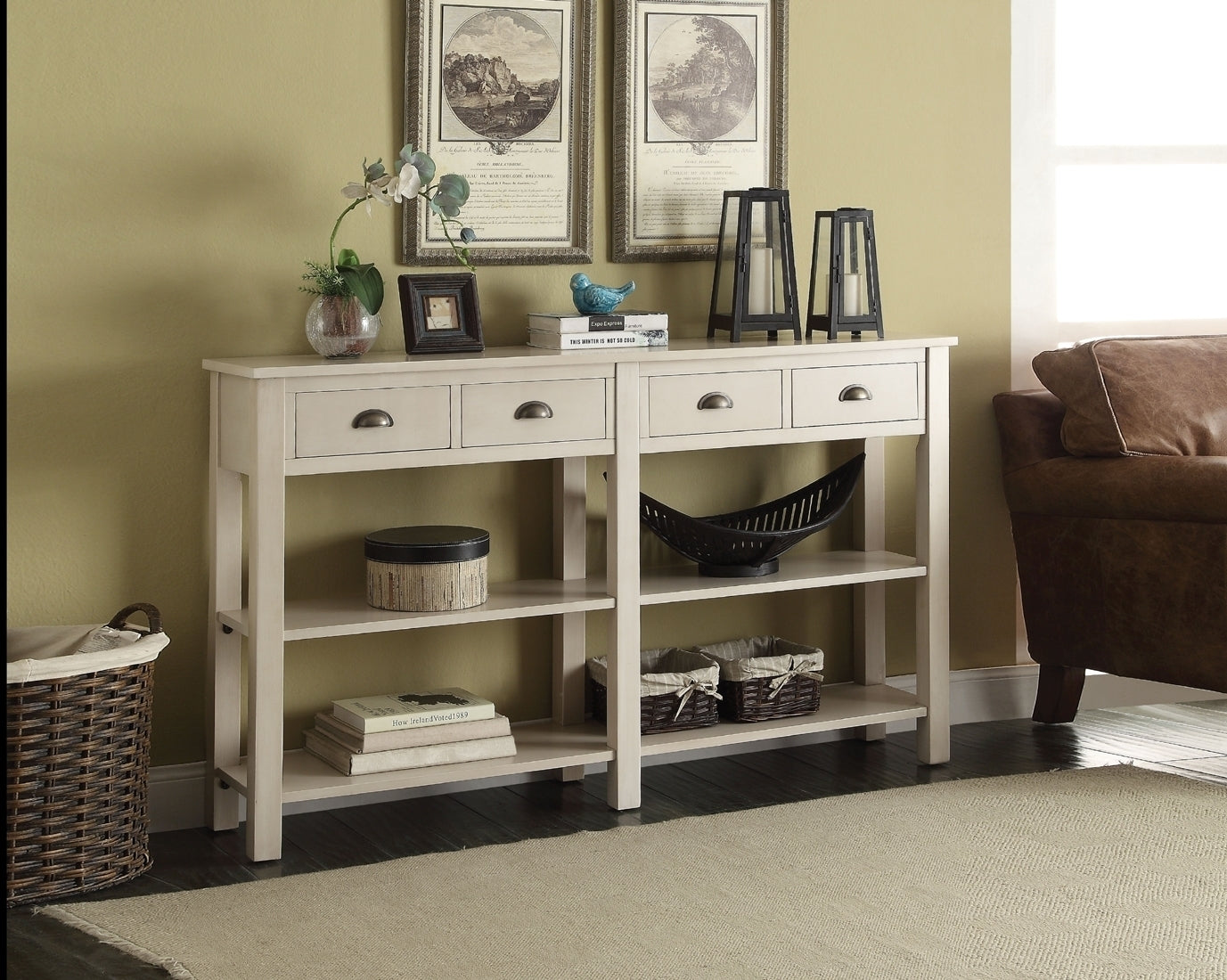 Acme Galileo Cream Drawer Console Table