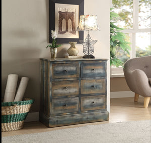 Acme Glancio Antique Oak Teal -Drawer Console Table