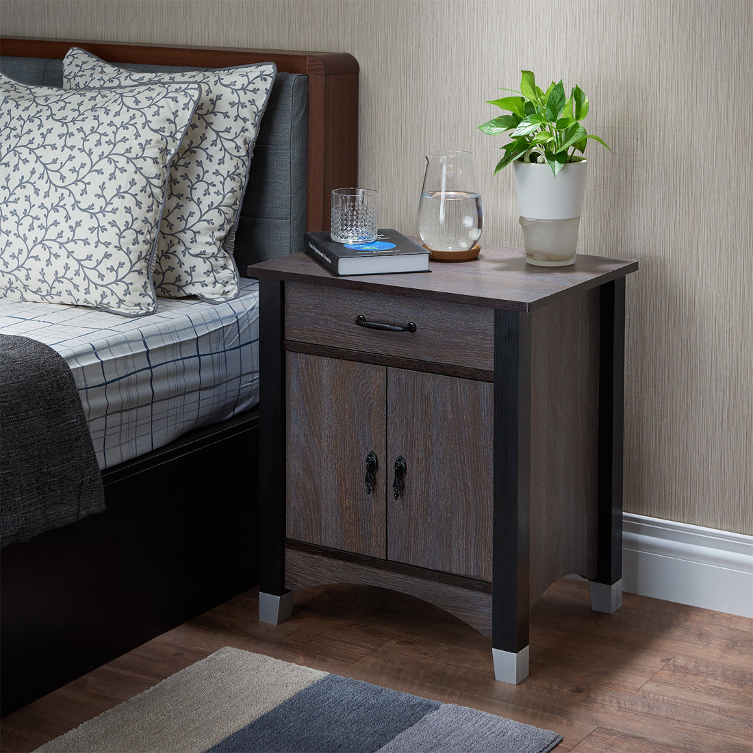 Acme Calp Gray Oak Drawer Door Nightstand