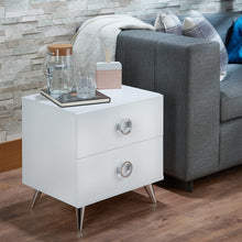 Load image into Gallery viewer, Acme Elms White Chrome -Drawer Nightstand