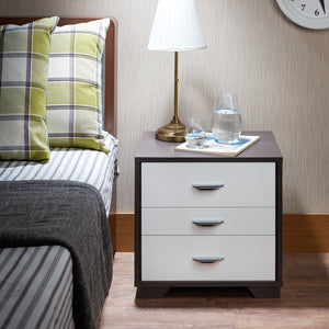 Acme 97342 Eloy White Black Finish 3 Drawer Nightstand
