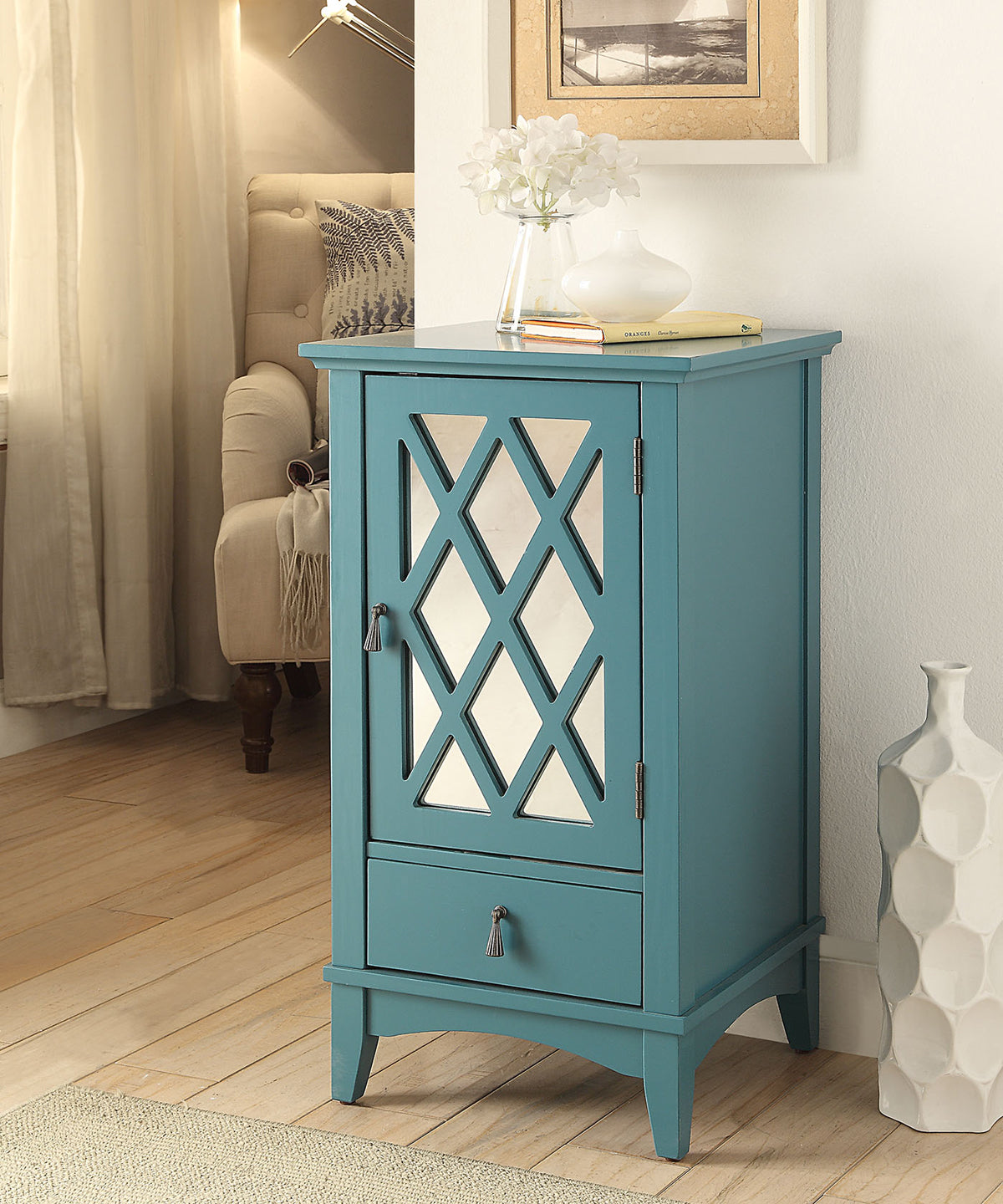 Acme 97380 Ceara Teal Finish Drawer Door Side Table