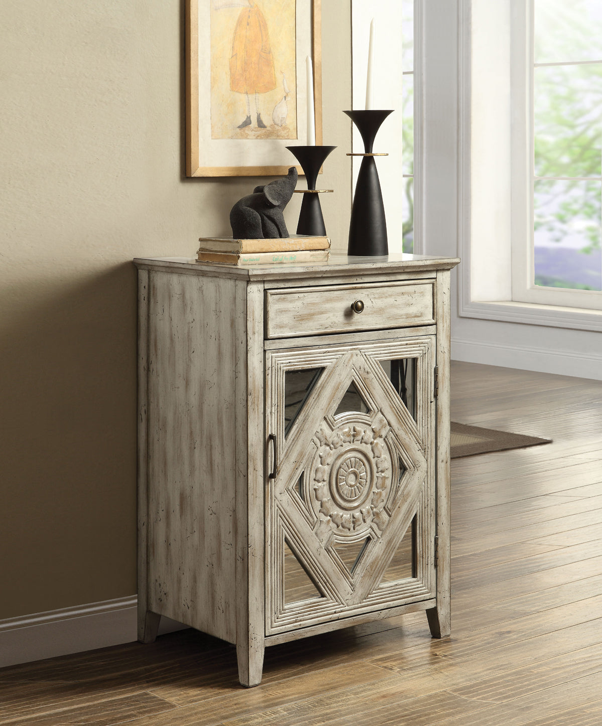 Acme Vinita Antique White Drawer Door Side Table