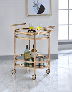 Acme Lakelyn Rose Gold Clear Glass Serving Cart