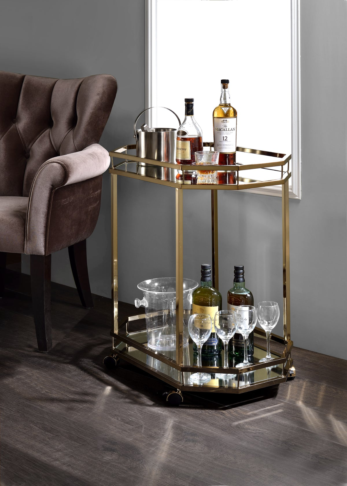 Acme Lacole Champagne Mirror Serving Cart