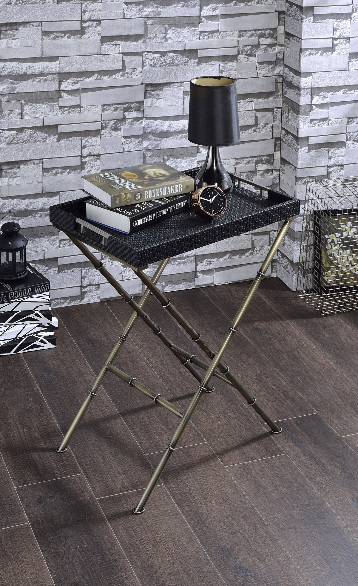 Acme Lajos Black Weave Antique Gold Tray Table