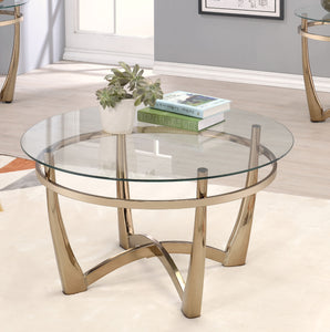Acme 81610 Orlando Champagne Clear Glass Coffee Table
