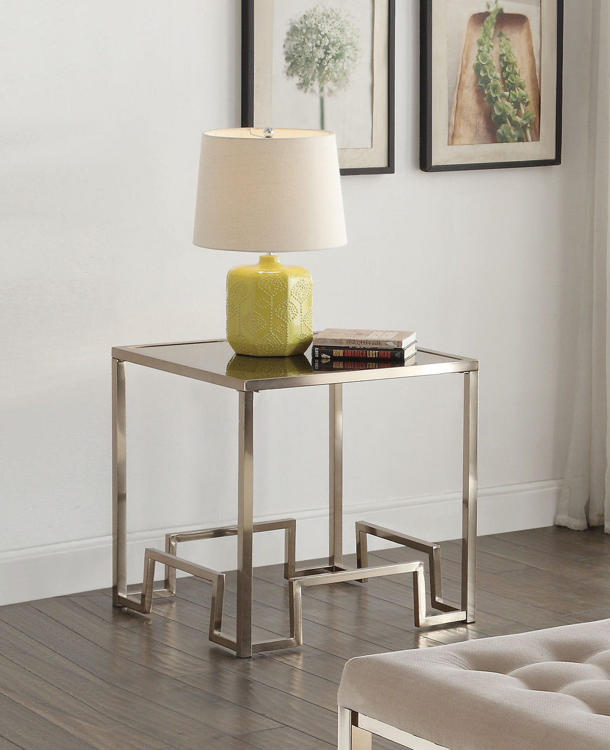Acme Damien Fabric Champagne End Table