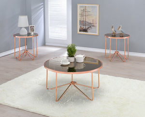 Acme Alivia Rose Gold Smoky Glass Coffee Table Set