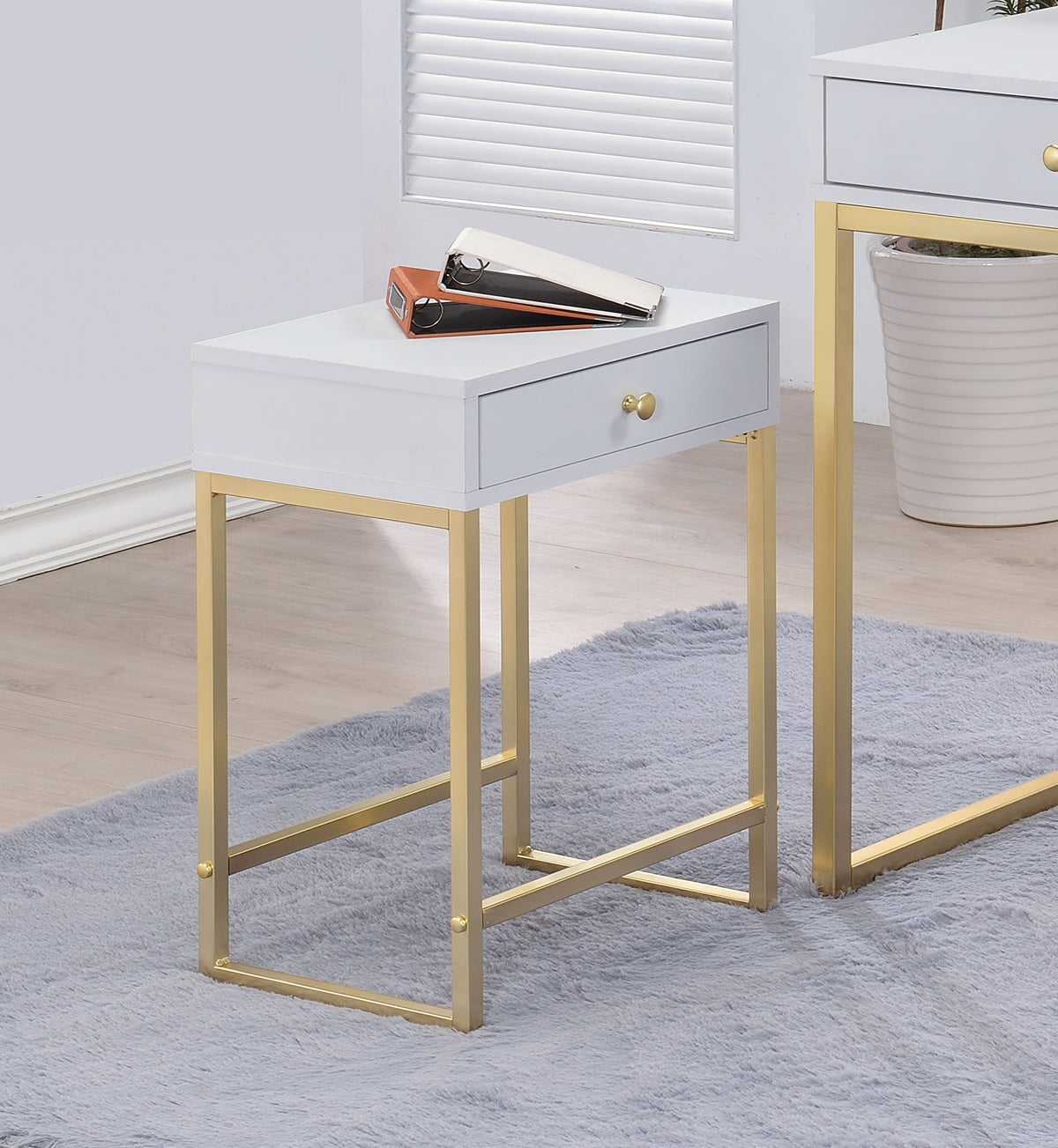 Acme 82298 Coleen White Brass Finish Side Table