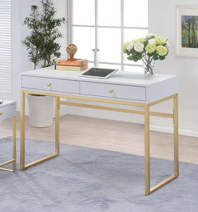 Acme 92312 Coleen White Brass Finish Desk
