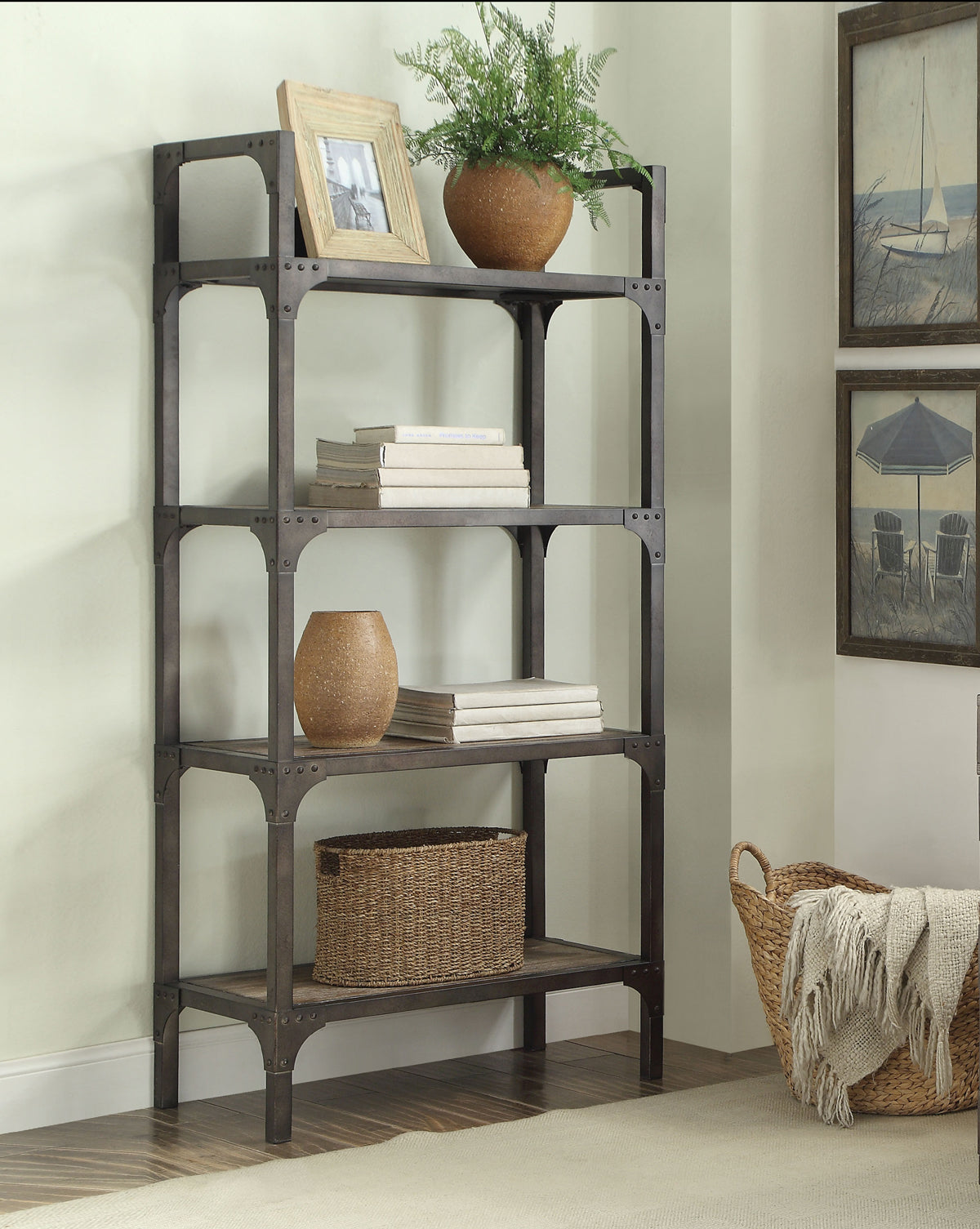 Acme Gorden Weathered Oak Antique Silver Bookshelf