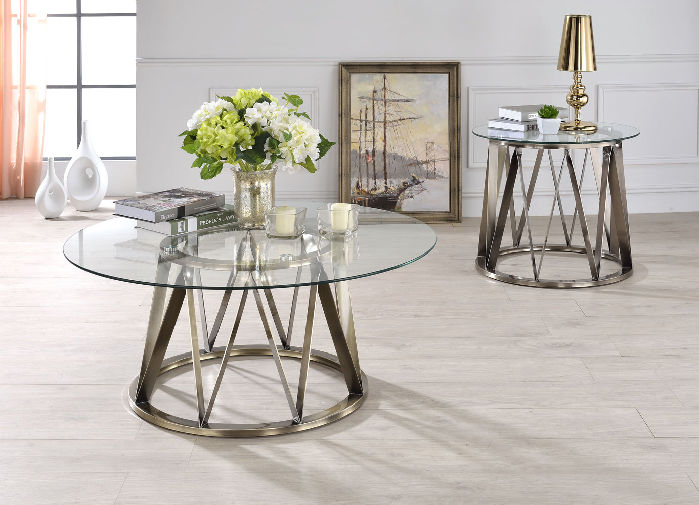 Acme 84485 Perjan 2pcs Antique Brass Clear Glass Coffee Table Set