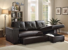 Load image into Gallery viewer, Acme 53345 Lloyd 3 Pieces Black PU Leather Sleeper Sectional Sofa Set