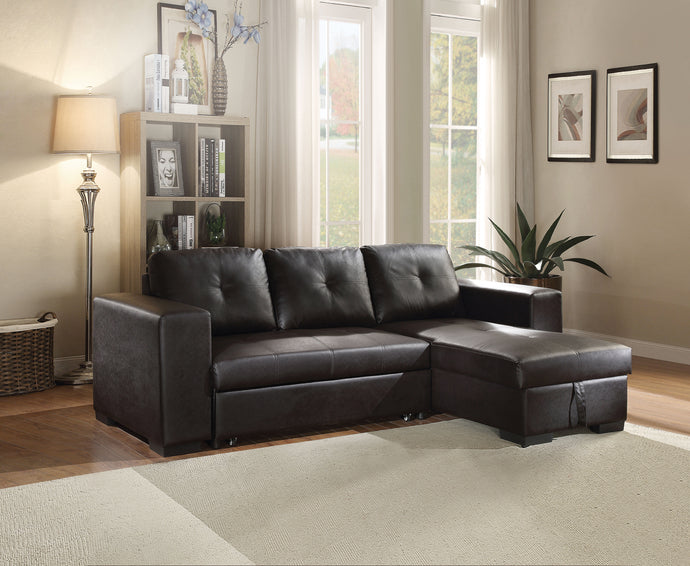 Acme 53345 Lloyd 3 Pieces Black PU Leather Sleeper Sectional Sofa Set