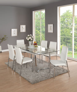 Acme Osias White Chrome Clear Glass Dining Table Set