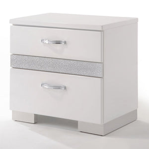 Acme Naima White High Gloss -Drawer Night Stand