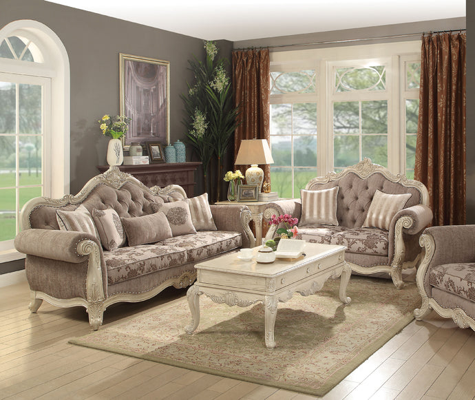 Acme 56020 Ragenardus 2 Pieces Antique White Sofa Set