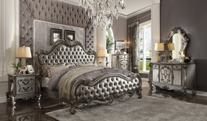 Acme Versailles Silver PU King Sleigh Bedroom Set