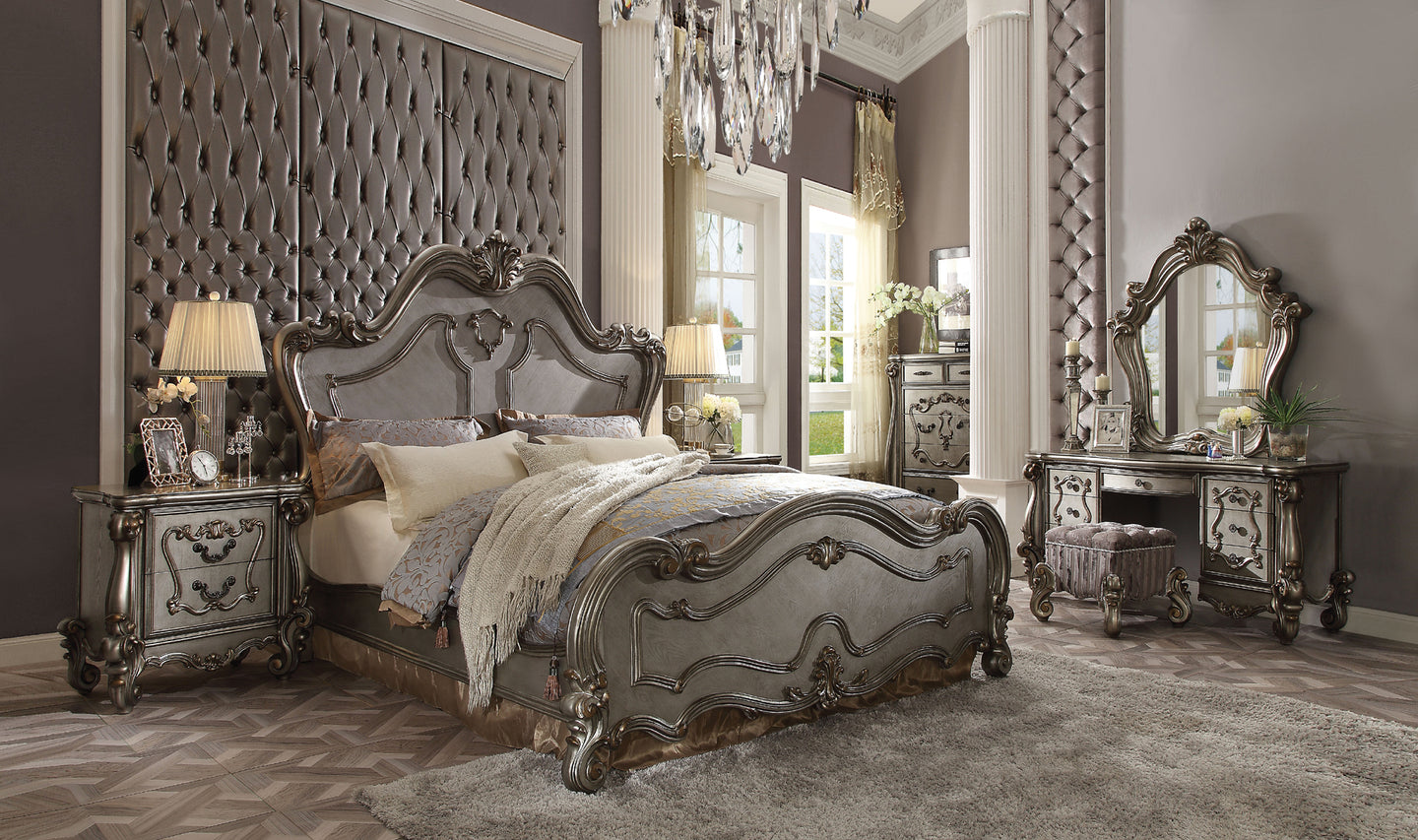 Acme Versailles Antique Platinum Queen Sleigh Bedroom Set