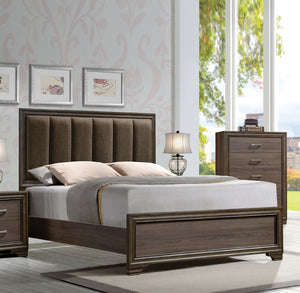 Acme Cyrille Walnut Finish Queen Panel Bed