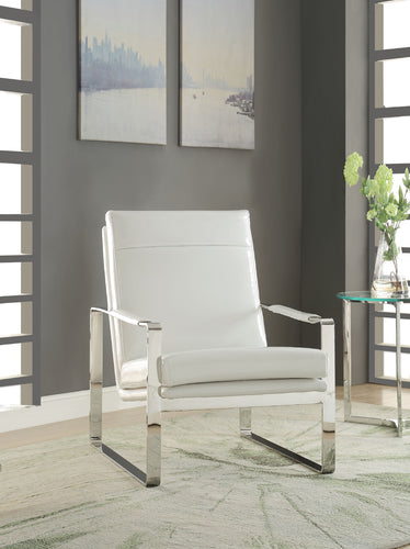 Acme Rafael White Finish PU Leather Accent Chair