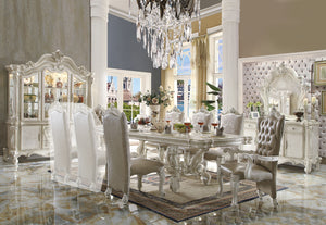 Acme Versailles Bone White Finish Rectangular Dining Table Set