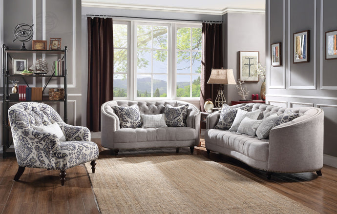 Acme Saira Light Gray Fabric Sofa Set