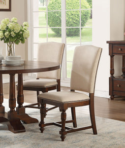 Acme Tanner Cherry Wood And Polyester Finish 2 Piece Dining Chair