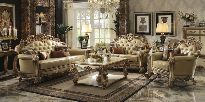 Acme Vendome Gold Patina Sofa Set Loveseat Chair