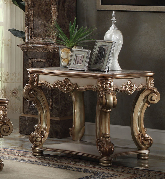 Acme Vendome Traditional Gold Patina End Table