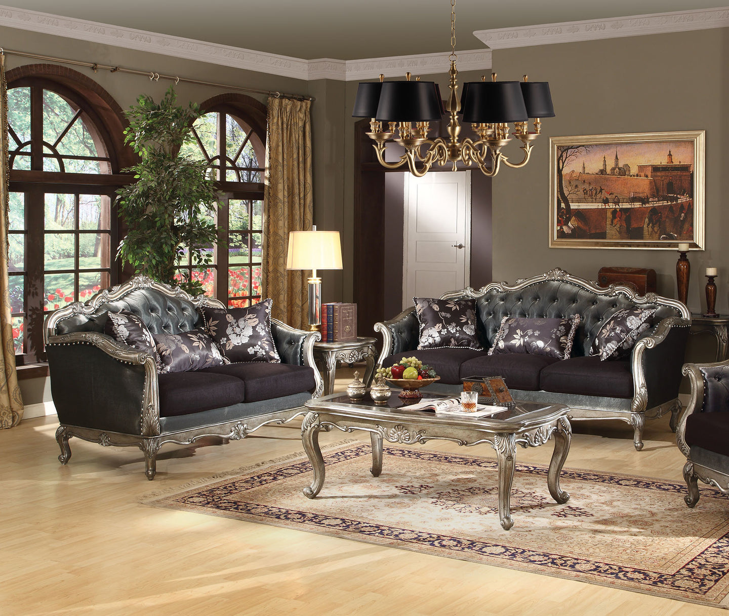 Acme 51540 Chantelle Antique Platinum Fabric Finish 2 Piece Sofa Set
