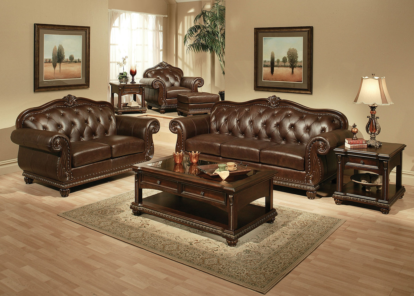 Acme Anondale Cherry Bonded Leather And Wood Finish 2 Piece Sofa Set