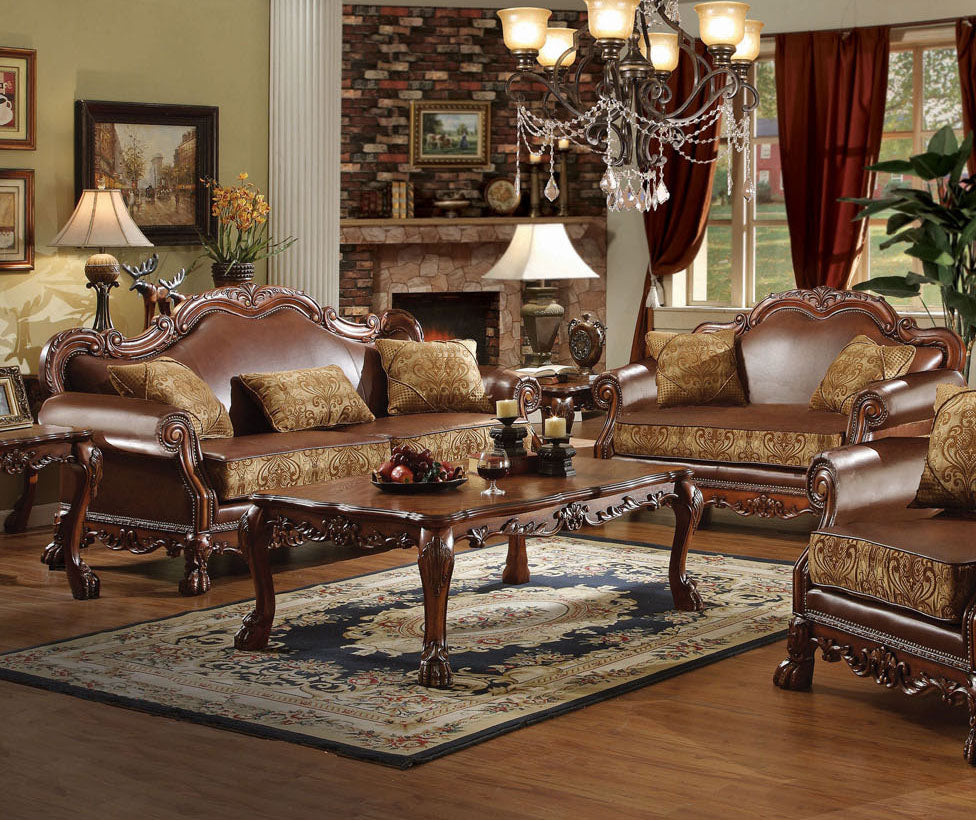 Acme Dresden Brown PU Leather And Wood Finish 2 Piece Sofa Set
