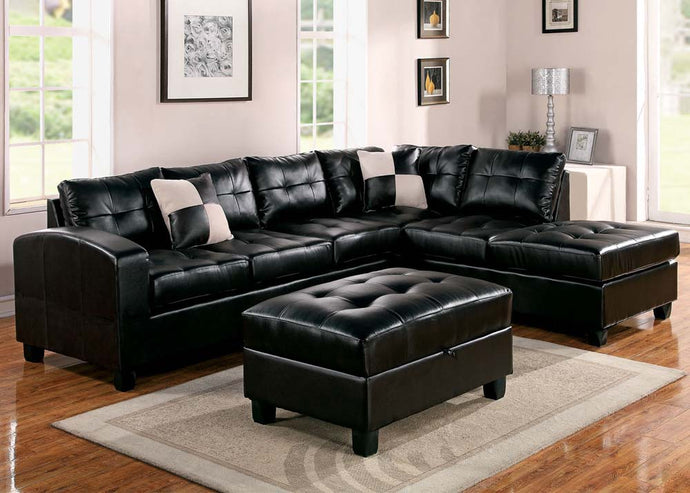 Acme Kiva Espresso Bonded Leather Reversal Sectional Sofa