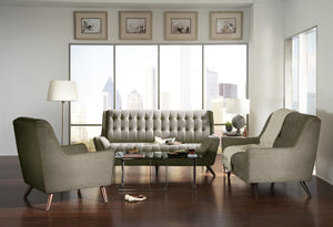 Homy Living Natalia Grey Chenille Fabric Finish 3 Piece Sofa Set