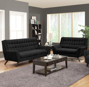 Homy Living Natalia Black Chenille Fabric Finish 2 Piece Sofa Set