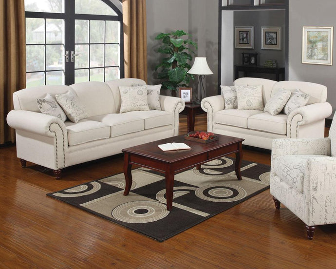 Norah Cream Antique Inspired Sofa and Loveseat