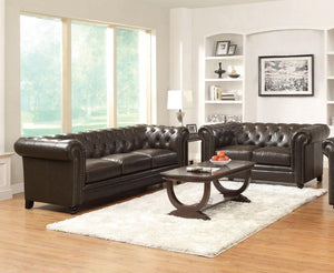 Coaster 2 Piece Roy Dark Brown Traditional Sofa and Loveseat