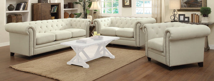 Roy 3 Piece Oatmeal Linen-Like Fabric Sofa Set