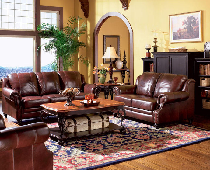 Coaster Princeton Dark Brown Leather Finish 2 Piece Sofa Set