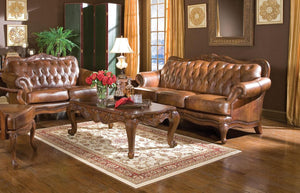 Warm Brown Classic Leather Sofa Loveseat Set