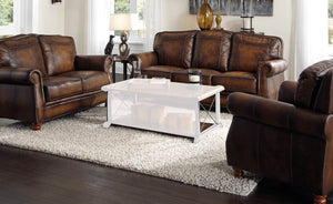 Montbrook Hand Rubbed Brown Leather Sofa Loveseat Set