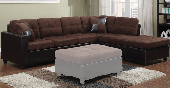 Mallory Chocolate Reversible Sectional Sofa