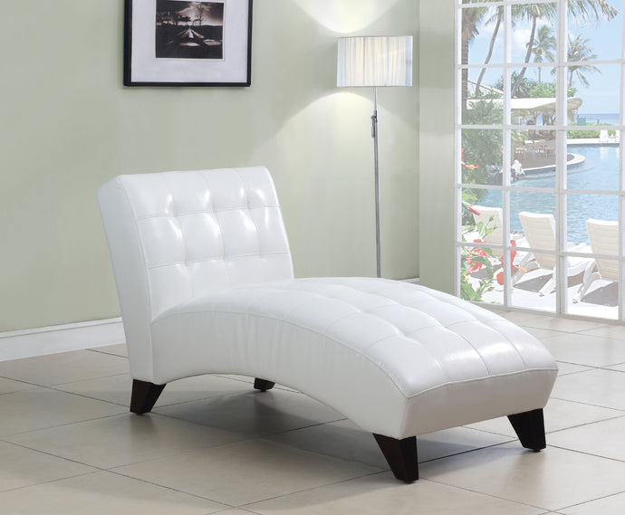 Acme Anna White Pu Leather Lounge Chaise