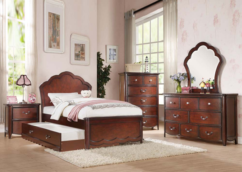 Acme Cecilie Cherry Wood Finish Youth 4 Piece Full Trundle Bedroom Set