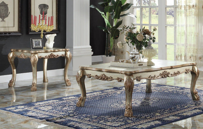 Acme Dresden Gold Patina Coffee Table Set