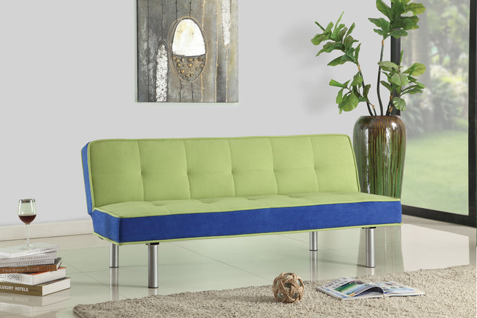 Acme Hailey Green Blue Flannel Fabric Sofa Bed Futon Sleeper