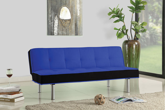 Acme Hailey Blue Black Flannel Fabric Sofa Bed Futon Sleeper